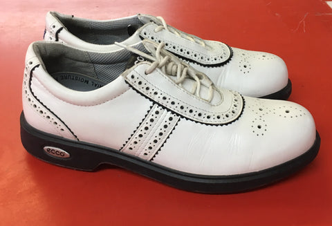 Women's ECCO Golf Shoes SZ. 6-6.5 US/EU 37 White/Black Brogue - ShooDog.com