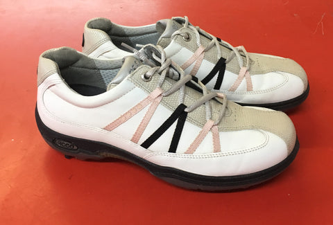 Women's ECCO Golf Shoes SZ. 6-6.5 US/EU 37 White/Beige/Black - ShooDog.com