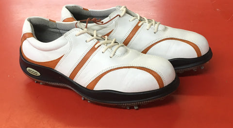 Women's ECCO Golf Shoes SZ. 7-7.5 US/EU 38 White/Tan - ShooDog.com