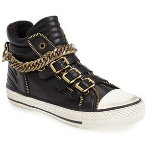 Ash Velvet Chain Leather High Top Sneakers  -Black/White - ShooDog.com
