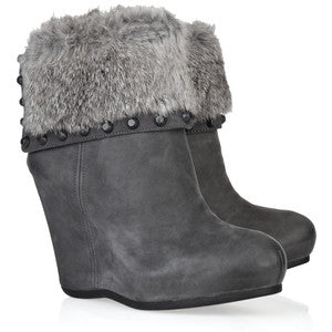 ASH Women's •Uranus• Covered Wedge Bootie - Iron Nubuck - ShooDog.com