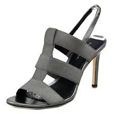 ELIE TAHARI  Womens Ithaca •Pewter• High Heel Stretch Caged Sandals - ShooDog.com