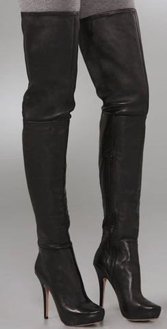 Jean-Michel Cazabat -Zena- Over the Knee Boots •Available in Black Leather