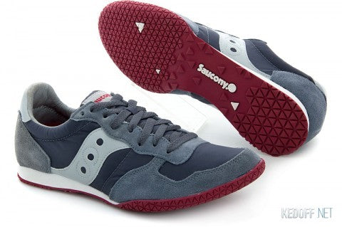 Men's Saucony Bullet •Cool Grey/Red• Classic Running Shoe - ShooDog.com