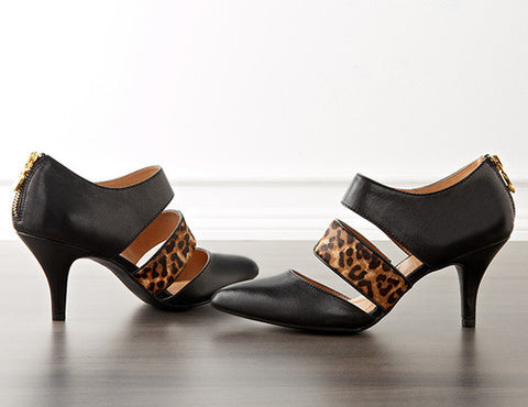 ELLEN TRACY Biana Pumps •Black/Leo•