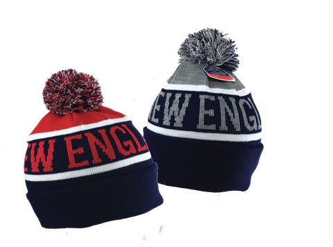 Adult's •New England Lettering• Knit Beanie Cuffed Pom Hat - Patriots football Colors - ShooDog.com