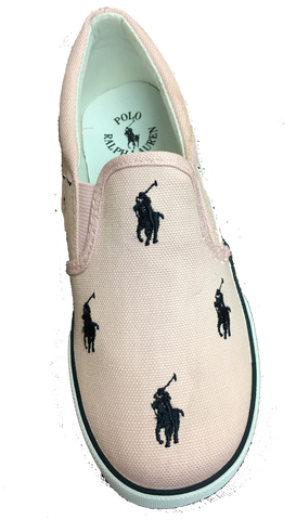 "POLO RALPH LAUREN Kids' ""Bal Harbour Repeat"" Canvas Slip On  -Camel/Pink/Navy--"
