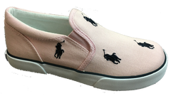 "POLO RALPH LAUREN Kids' ""Bal Harbour Repeat"" Canvas Slip On  -Camel/Pink/Navy-- - ShooDog.com"