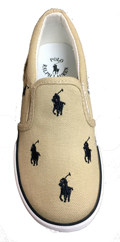 "POLO RALPH LAUREN Kids' ""Bal Harbour Repeat"" Canvas Slip On  -Khaki/Navy-"