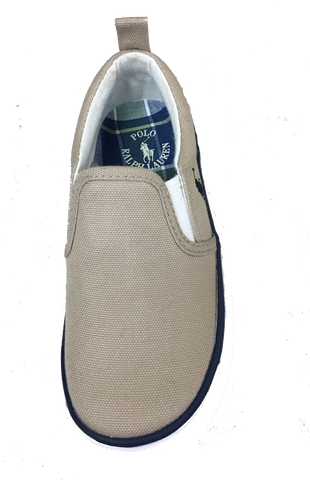 "POLO RALPH LAUREN Kids' Bay"" Canvas Slip On  -Classic Tan-"