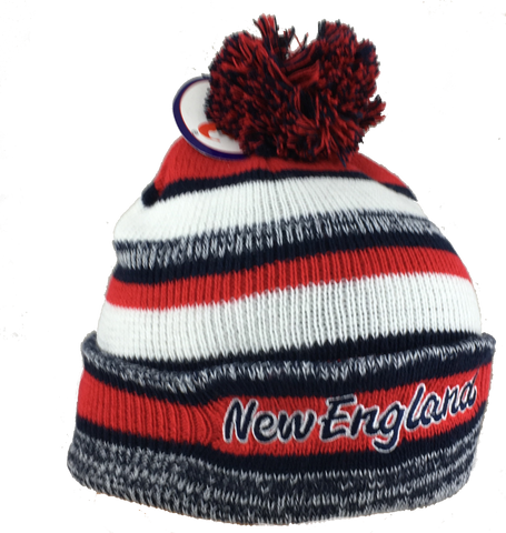 Adult's •New England Lettering• Embrioderd Knit Beanie Cuffed Pom Hat - Patriots football Colors - ShooDog.com