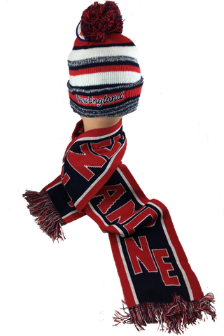 Adult's •New England Lettering• Embrioderd Knit Pom Hat & Scarf set - Patriots football Colors - ShooDog.com