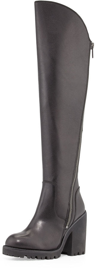 ASH Women's •Power• Over-The-Knee Boot - Black Leather - ShooDog.com
