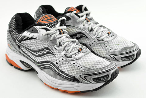 Saucony Mens Grid Fusion 3 • White / Silver / Orange• Running Shoe - ShooDog.com
