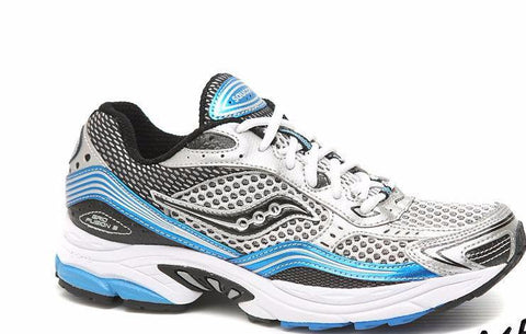 Saucony Mens Grid Fusion 3 • White / Silver / Blue• Running Shoe - ShooDog.com