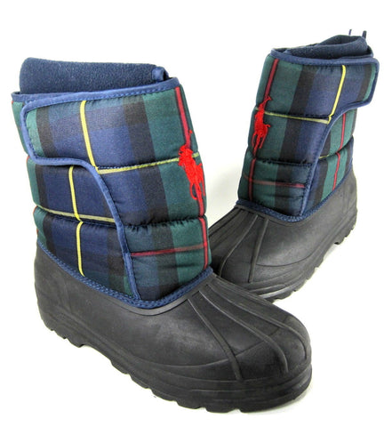 POLO RALPH LAUREN Toddler •X-12• EZ Snow boots  •Blue Plaid•