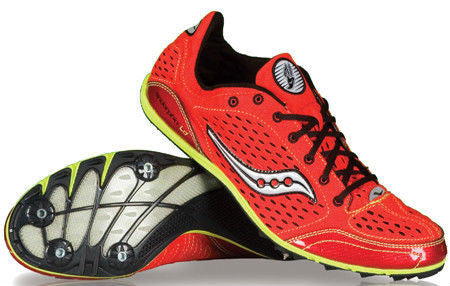 Women's Saucony Endorphin LD Track & Field Shoes/Spikes •Red/Citron• - ShooDog.com