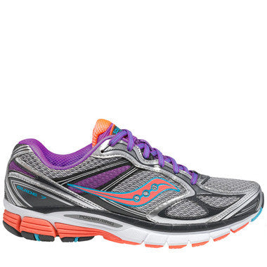 Women's Saucony ProGrid  Guide 7 •Silve/Coral/Purple• Running Shoe - ShooDog.com