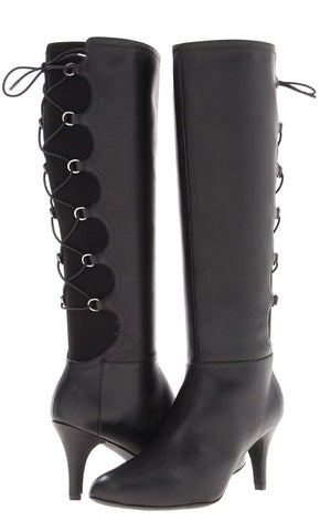 Taryn by TARYN ROSE Women's •Tiara• Leather Corset Boot - Black - ShooDog.com
