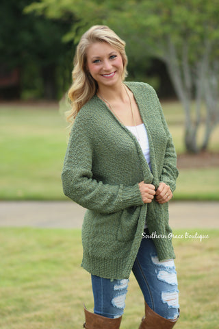 Feeling Cozy Sweater Cardigan - Olive