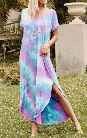 Stop Time In Tie Dye Mid-Length Maxi Dress PREORDER