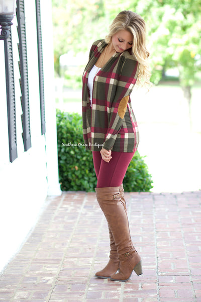 Perfect Patches & Plaid Cardigan - Olive