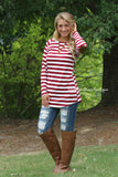 Right About Stripes Tunic - Burgundy