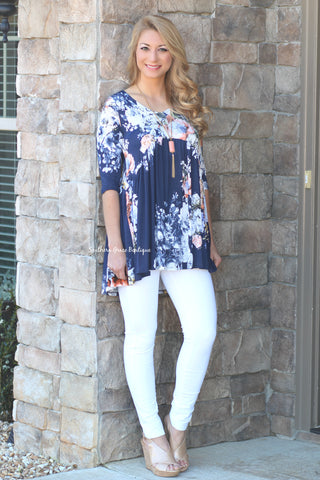 Spring Bloom Tunic - Navy