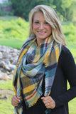 Warm Me Up Plaid Blanket Scarf - Mustard/Olive