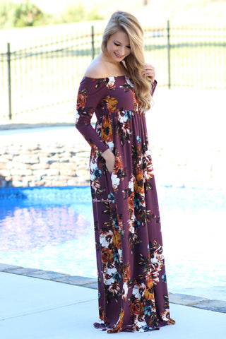 Influenced By Florals Maxi Dress, Burgundy