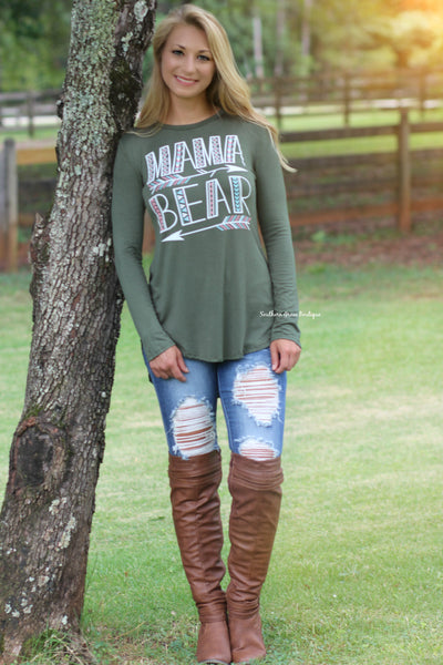 Mama Bear Tunic Top, Olive