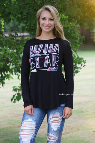 Mama Bear Tunic Top, Black FINAL SALE ITEM!