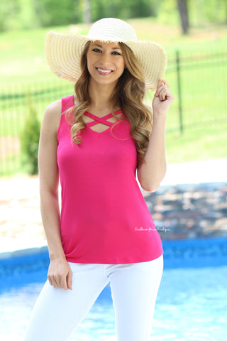 Crossing Into Summer Tank, Hot Pink FINAL SALE ITEM!