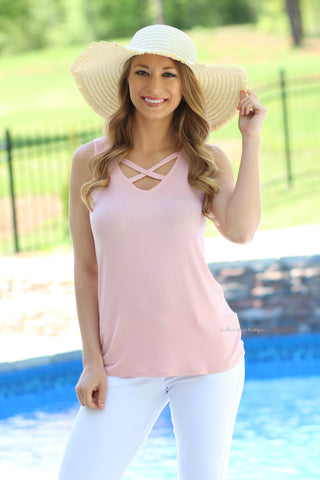 Crossing Into Summer Tank, Blush FINAL SALE ITEM!