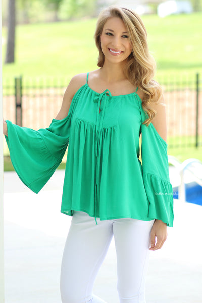 Take You On The Town Bell Sleeve Top, Green CLEARANCE