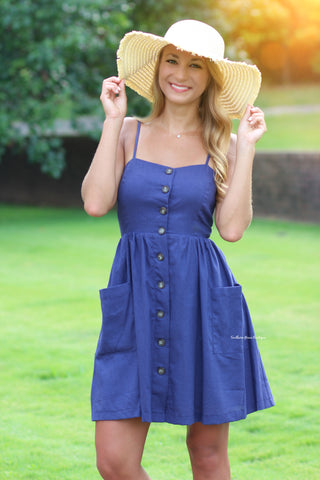 Sweet Escape Dress, Navy - PREORDER
