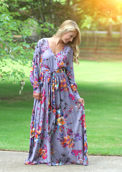 A Beauty To Behold Maxi Dress, Greyish Purple