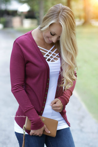 Button Me Up Cardigan - Burgundy FINAL SALE ITEM!