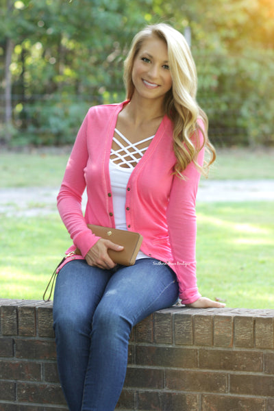 Button Me Up Cardigan - Pink