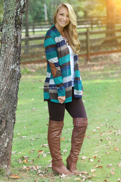 Fall Into Place Cardigan - Teal