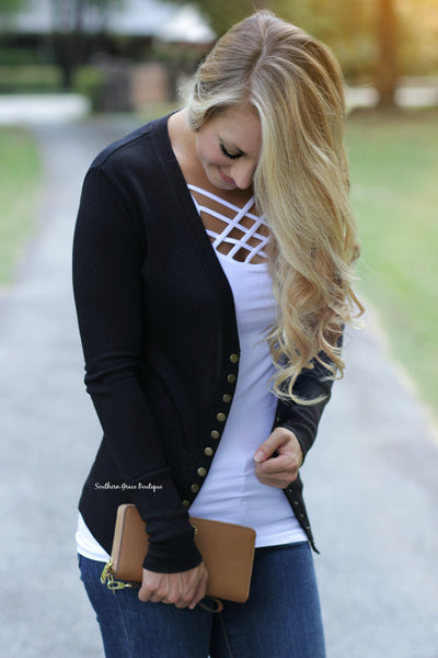 Button Me Up Cardigan - Black