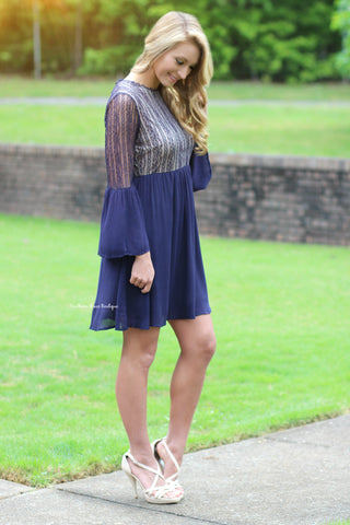 Graceful Lace Dress, Navy