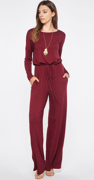 Jumping Into Winter Jumpsuit, Burgundy