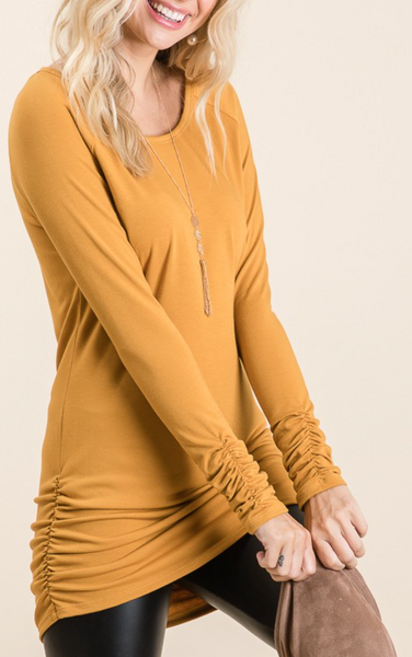 Favorite Side-Cinched Tunic, Mustard PREORDER