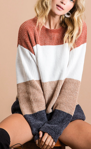Just Too Good Colorblock Sweater, Rust