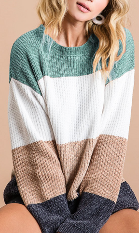 Just Too Good Colorblock Sweater, Sage