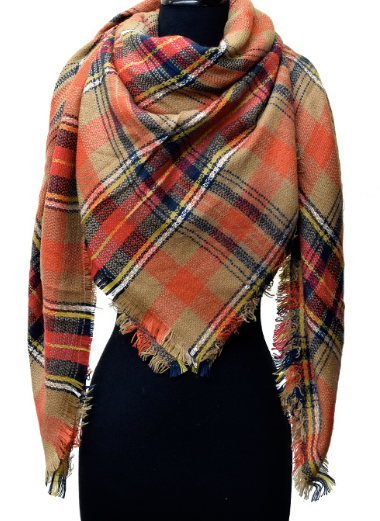 Warm Me Up Plaid Blanket Scarf - Rust