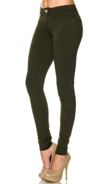 Walk Into Winter Jeggings - Olive