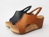 Best Foot Forward Wedges, Black & Tan - (Final Sale Item)