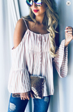 Take You On The Town Top, Pink Stripes CLEARANCE